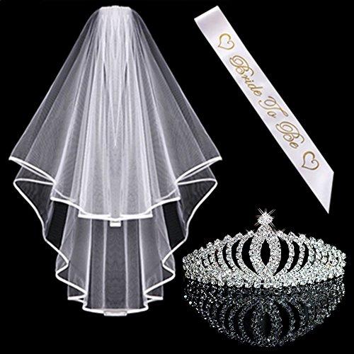 Awtlfe Hochzeitszubehör-Set für die Braut: Kristall-Tiara/Krone, Hochzeitsschleier, Schärpe