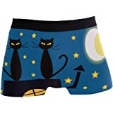 JIRT Slip da Uomo Boxer Cute Cartoon Cats Moon Star Intimo Maschile Tronchi Stretch Traspirante Bulge Pouch Soft Underpants