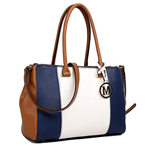 Miss Lulu Damen Umhängetaschen tote PU Handtaschen V Patchwork Reißverschluss Stil mit zwei Innen Offene Taschen und eine lange Gurt Navy