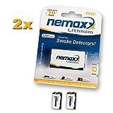 2x Nemaxx Lithium 9V Block Batterie Set für...