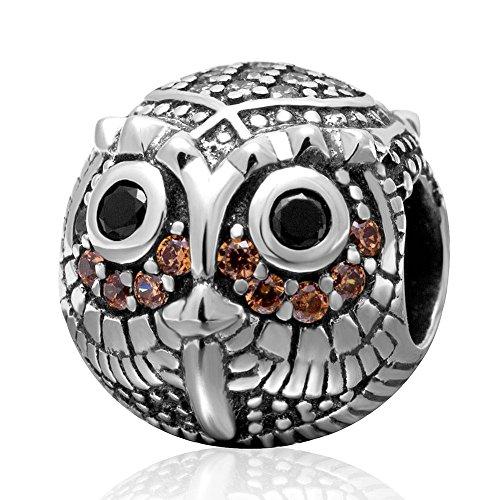 soulbead sabio búho encanto con etiqueta colgante de noviembre de circonita plata de ley 925Animal Bead para DIY pulsera europea