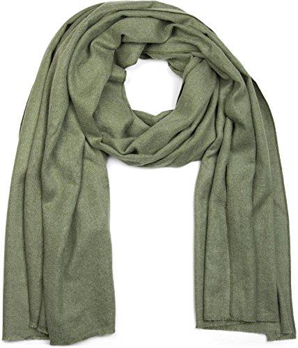 styleBREAKER weicher Stola Schal in Unifarben mit Fransen, Tuch, Unisex 01017070, Farbe:Jadegrün