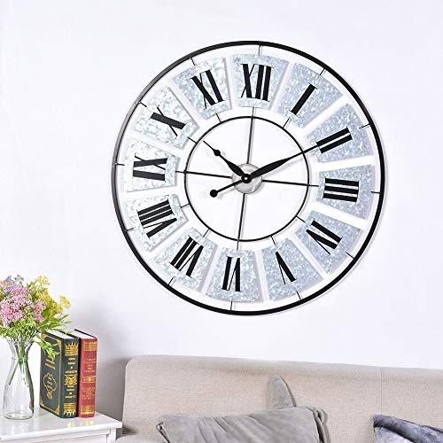 SQYAN Wall Clocks Wanduhr Metall Kunst aus Eisen Runden Rom Digital Mode Wohnzimmer Restaurant Dekoration 80cm/31.5in Kunst aus Eisen Uhr Stille