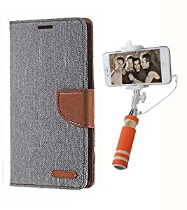 Aart Fancy Wallet Dairy Jeans Flip Case Cover for MicromaxA104 (Grey) + Mini Fashionable Selfie Stick Compatible for all Mobiles Phones By Aart Store