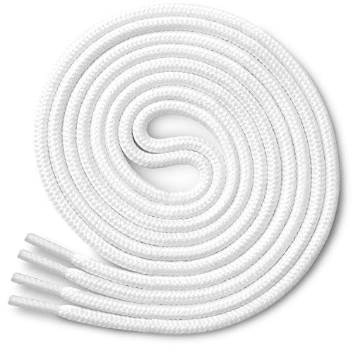 Miscly - Schnürsenkel Rund, Reißfest [3 Paar] für Sportschuhe, Sneaker und Stiefel - 100% Polyester - Ø 4 mm (114 cm, Weiß) (Flache Sport-schnürsenkel)