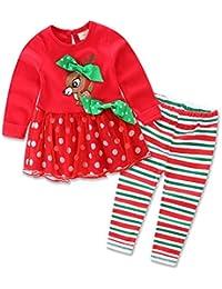 Zooarts 1 – 5 años niños niñas manga larga Navidad reno vestido + pantalones traje caliente