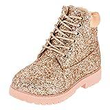 Fashionteam24 Classic Boots Chauds doublés pour Fille avec Paillettes - - M467rs Rosa, 27 EU