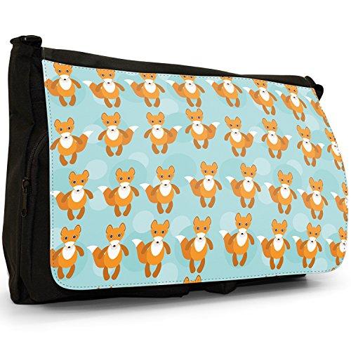 Tenero animale Unicorno Pattern–Borsa Tracolla Tela Nera Grande Scuola/Borsa Per Laptop Bushy Tail Fabulous Fox