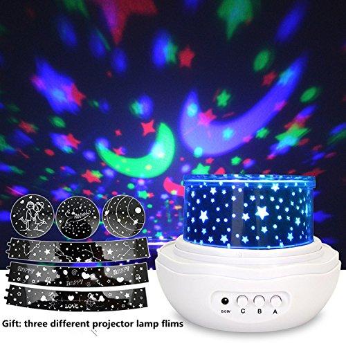 Lampada di Illuminazione Notturna, Lampada Rosa con Proiettore Rotante, Proiettore dello Spazio romantico con Stelle (Luna 2 Luce)