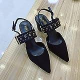 HRCxue Zapatos de la Corte Zapatillas Individuales de Boca Baja y Puntiagudas, Remaches Zapatos de Mujer con Sandalias Gruesas de tacón Alto para Mujeres, Negras, 38