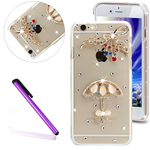 iPhone 6S Hülle,iPhone 6 Hülle,iPhone 6S Etui,EMAXELERS Transparent Hardcase for iPhone 6S Case,Hart Plastik Schutzhülle Hard Kunstoff Clear Cover Silber Schiefen Turm Schnee Sparkles Diamant Painted  Diamond PC Series 8
