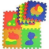 Puzzlematte - Baby-Spielmatte - Krabbeldecke mit abnehmbaren Ränder - farbige Baby-Bodenmatte - 52 teilige Spielteppich mit Tierbildern - formamidfreie Kinder-Schaumstoffmatte