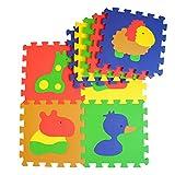 Puzzlematte - Kinder-Spielmatte aus 9 Puzzleteilen - Krabbeldecke mit abnehmbaren Ränder - farbige Bodenmatte - Spielteppich mit Tierbildern - formamidfreie Schaumstoffmatte (Happy Mat)