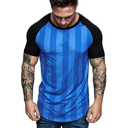 HHyyq Herren Fitness T-Shirt Männer Kurzarm Shirt für Gym & Training Passform Slim-Fit lang mit Rundhals Men's Compression Tops Kurzärmeliges, atmungsaktives und schnell trocknendes -