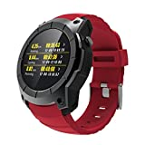 Fuibo Smartwatch, Männer Bluetooth Smart Watch Unterstützung GPS, Luftdruck, Anruf, Herzfrequenz, Sportuhr | Intelligente Armbanduhr Sport Fitness Tracker Armband (Rot)