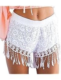 Aeneontrue Damen Shorts Quasten Spitze Blume High Waist Hot Pants Sexy  Sommer Strand Kurzschluss Kurz Hosen Sporthosen Yoga Mini Shorts… be52fb32d8