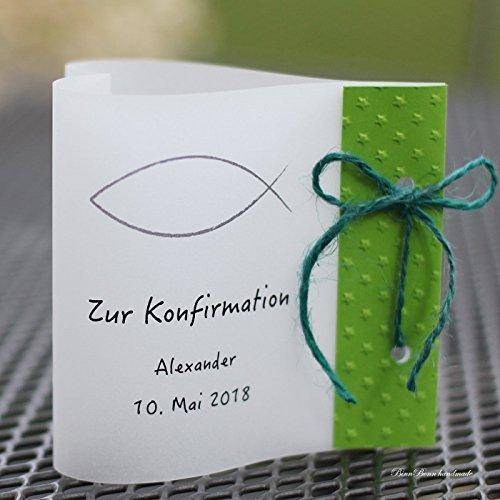 14x Lichthülle Windlichter Tischdeko Herzform Taufe Kommunion Konfirmation grün Handarbeit binnbonn