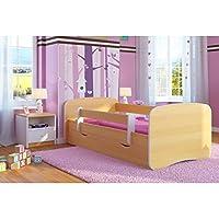 Preisvergleich für Kocot Kids Kinderbett Jugendbett 70x140 80x160 80x180 Buche mit Rausfallschutz Matratze Schubalde und Lattenrost Kinderbetten für Mädchen und Junge Holz 180 cm