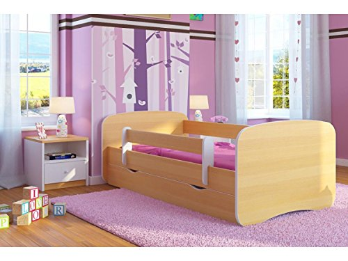 Kocot Kids Kinderbett Jugendbett 70x140 80x160 80x180 Buche mit Rausfallschutz Matratze Schublade und Lattenrost Kinderbetten für Mädchen und Junge Holz 180 cm