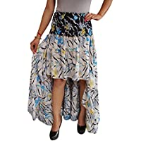 Mogul Interior Olivia Womens Hi Low Hem Skirt Vintage Recycled Sari Cherished Ruffle Tiered Skirts S/M