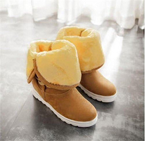 Donne Yueer un paio di scarpe 2 indossare metà capelli spessi caldo tubo all'interno scarponi da neve Martin stivali yellow
