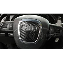 Vinilo adhesivo para airbag de volante, fibra de carbono, brillo, color negro,