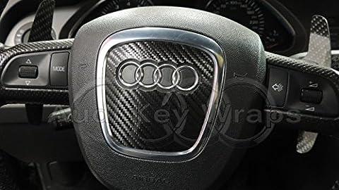 Cache de protection en fibre de carbone, noir, pour airbag S RS A1 A3 A4 A5 A6 A8 TT Q3 Q5 Q7 (compatibilité avec véhicules avec conduite à gauche non garantie)