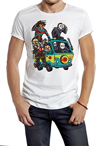 CorruptClothing Men's Horror T-Shirt Chucky Halloween Jason Myers Freddy T-Shirt Line up TeeTops Sizes S, M, L, XL, XXL, XXXL