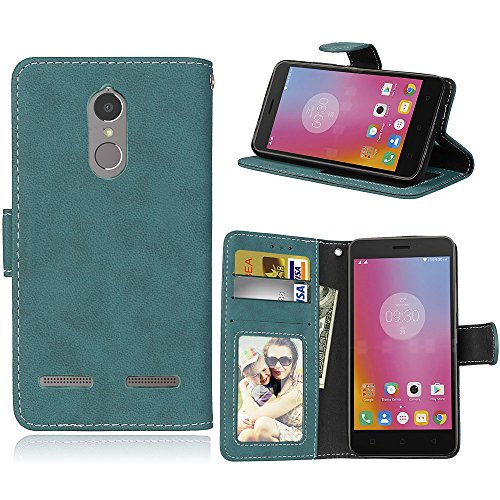 Für Lenovo K6 Power Hülle, Premium PU Leder Schutztasche Klappetui Brieftasche Handyhülle, Standfunktion Flip Wallet Case Cover - Retro Frosted 3 Card Slots (Blau)