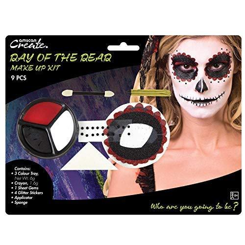 Adulti donna giorno dei morti teschio di zucchero 9pc kit trucco gemme adesivi pittura viso halloween carnevale accessorio per costume