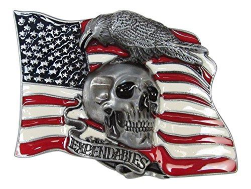 Hebilla, Bucle placa de cinturón esmaltado calavera fondo bandera USA, expendables