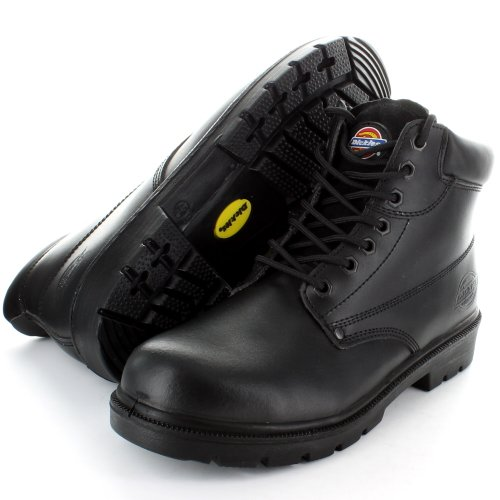 Dickies Mens Leather Antrim Work Safety Steel Toe Cap Boots Black,Brown Black Steel Toe Work Boot