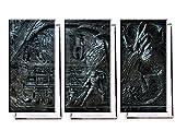 Skyrim Wandrelief - Dreiteiler (120x80 cm) - Bilder & Kunstdrucke fertig auf Leinwand aufgespannt und in erstklassiger Druckqualität
