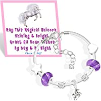 Girls Magical Unicorn White Leather Charm Bracelet Set with Greeting Card and Gift Box Kids Jewellery (4. Purple)
