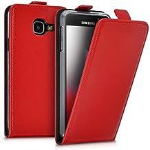 kwmobile Housse à rabat en cuir synthétique pour Samsung Galaxy A3 (2016) avec fermeture aimantée pratique en rouge foncé