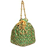 Bagaholics Ethnic Clutch Silk Potli Batwa Pouch Bag with Metal Beadwork (Green)
