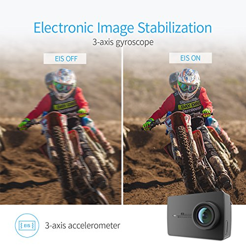 YI 4K Sport Action Camera 4K/30fps Ultra HD Wide Angle Lens 2.19 Inch Touch Screen Camcorder with Underwater Waterproof Case Set-Black
