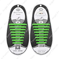 Easy No Tie Elastic Shoe Lace 100% Silicone Trainers Shoes Adult & Kids Shoelaces (Adult Green)