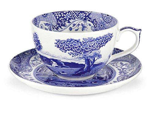 Blau Italienisches 0,56Liter Porzellan Jumbo Tasse und Untertasse, Blau/Weiß (Blau China Tasse Und Untertasse)
