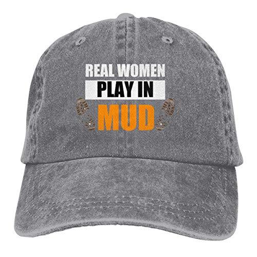 Hoswee Unisex Kappe/Baseballkappe, Real Women Play in Mud Cowboy Caps Adjustable Snapback Baseball Hats Gray
