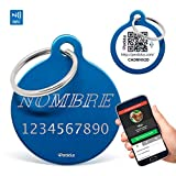 Perdidus Placa Identificativa para Mascotas con NFC y QR + Grabado del Nombre y Teléfono | Azul, 32 mm, Unisex