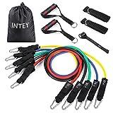 INTEY Fitnessbänder Tube Set in 5 Stärken Widerstandsbänder aus Naturlatex Resistance Bands Widerstandsband + Griffe, Türanker und Fußschlaufen