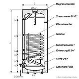 120 Liter Warmwasserspeicher mit 1 Wärmetauscher Farbe grau -