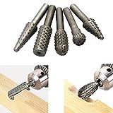 5 PCS 6mm Shank Rotary Burr Rasp Set Woodworking Grinding Polishing Shaping File Wood Carving Drill Bits