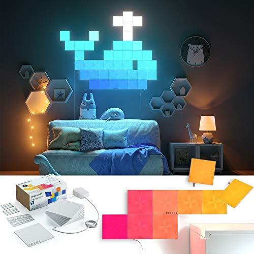 nanoleaf Canvas 9er Starter Set | Modulare Smarte LED mit Sound-Modul, App Steuerung, 16 Millionen Farben | Alexa, Apple Home Kit & google assistant kompatibel, Plug and Play