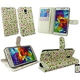 Emartbuy® Samsung Galaxy S5 Premium Brieftaschen Etui Hülle Wallet Case Cover und Stundfunktion Blumen Rosa Grün mit Kreditkartenfächern