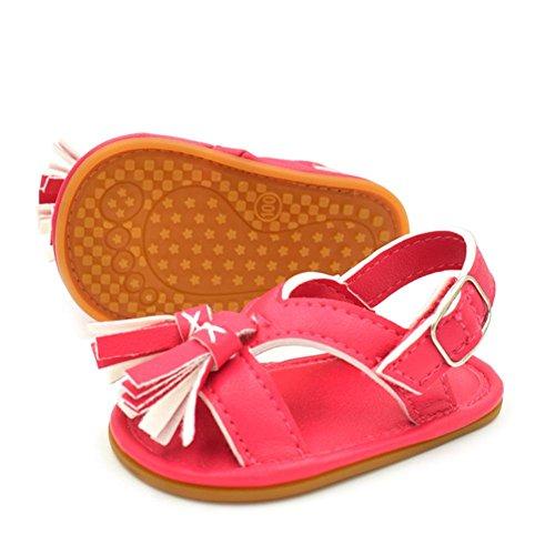 Igemy 1Paar Neugeborene Baby Jungen Mädchen Tassel Step Schuhe Sandalen Soft Schuhe Anti-Rutsch Schuhe Rot