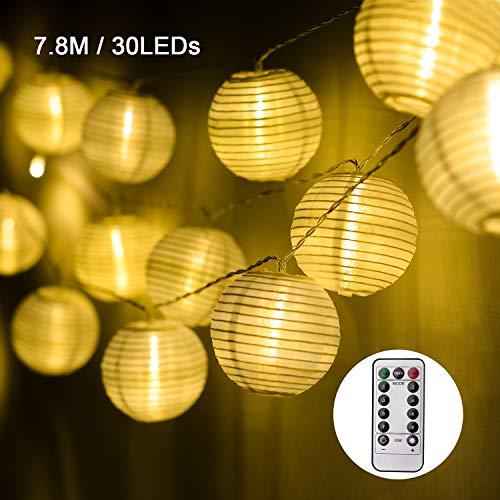 EKKONG Led Lichterkette,Verbesserte Version mit Fernbedienung und Timer, Lampion 30LEDs 7.8m Laterne Wasserdichte Gartenbeleuchtung, Batteriebetrieben (Warmweiß) - Laterne Fernbedienung