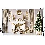 MeHOFOTO - Tenda da parete con albero di Natale invernale e decorazione per caminetto, 2 x 1,5 m, colore: beige