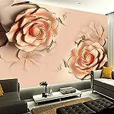 Wandgemälde Benutzerdefinierte Wandbild Tapete Moderne 3D Stereoskopische Romantische Rosa Rose Blume Wohnzimmer Tv Hintergrund Tapete Für Schlafzimmer Wände,200Cm(H)×300Cm(W)